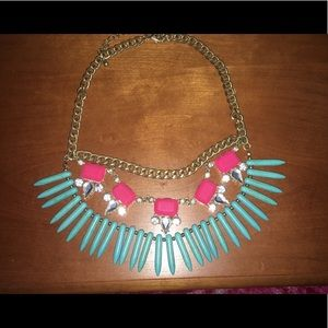 Baublebar turquoise and pink statement necklace